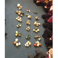 Grouping eggs to count them.