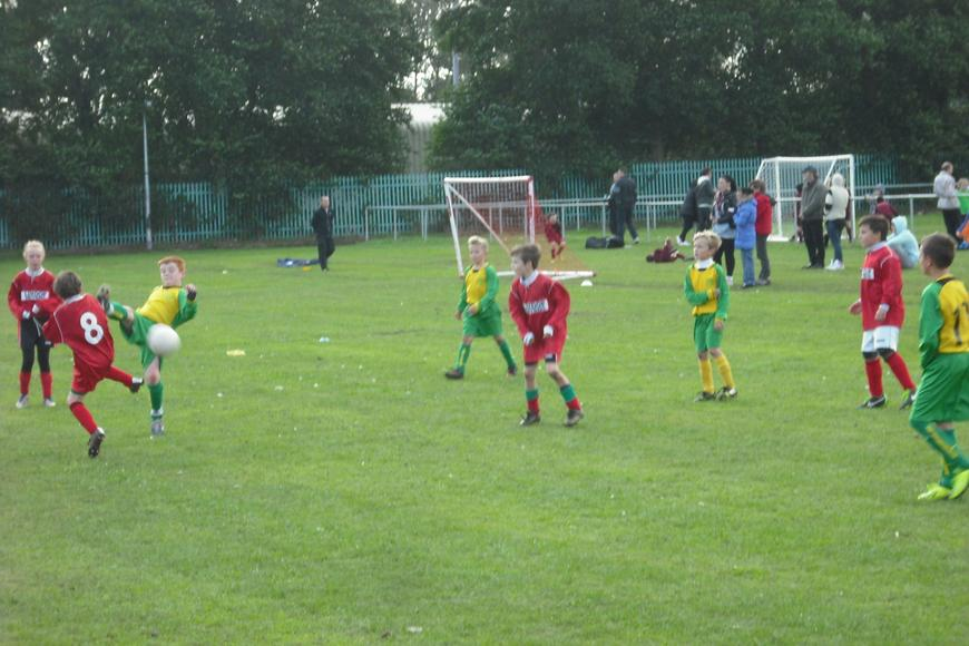 Josh winning the ball with a suspect high foot