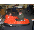 Inflating the rescue boat.
