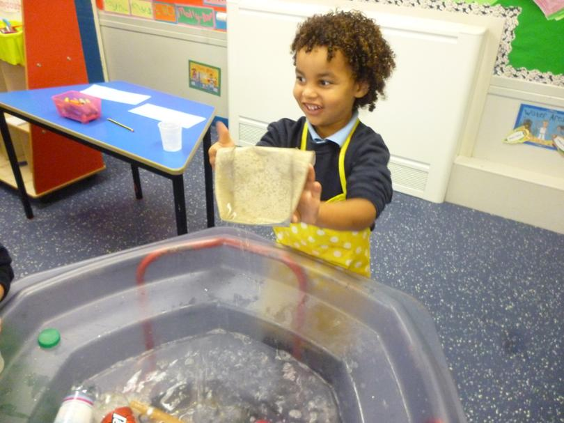 We experimented with materials in the water.