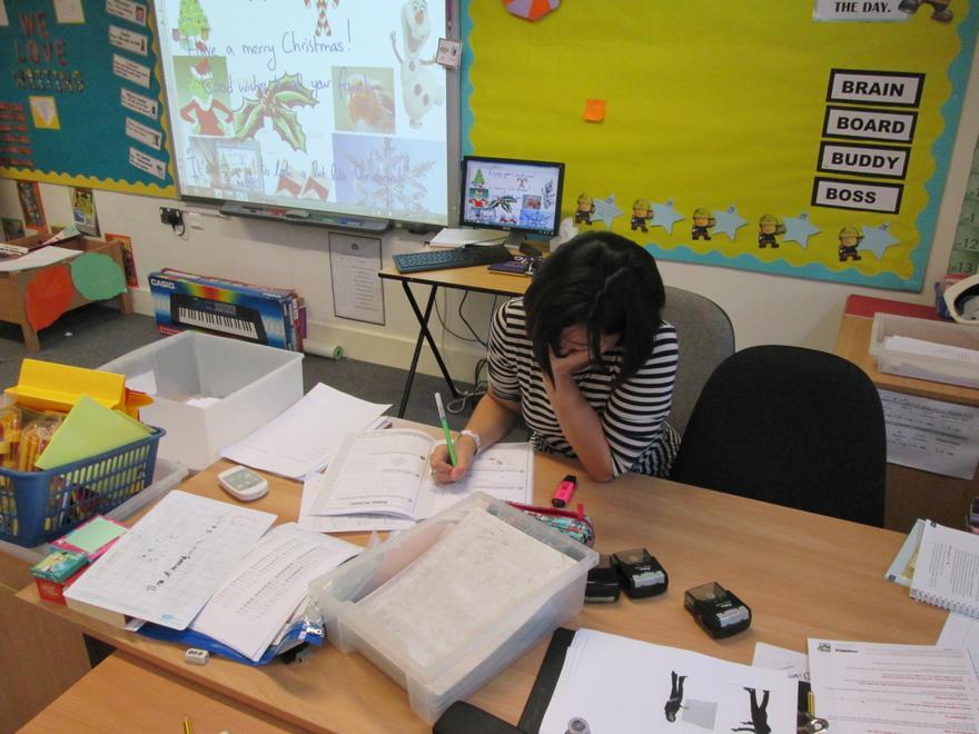 Mrs Gosbee hard at work!