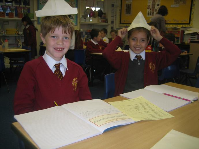We used the instructions to make our paper hats!