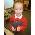 Ruby made a wonderful shadow puppet.