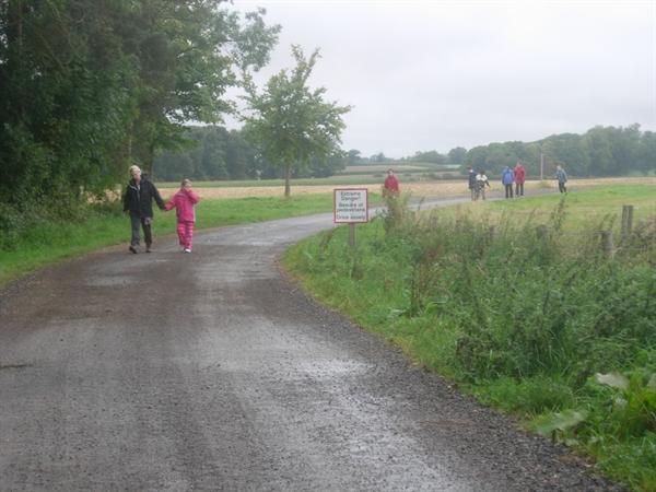 Very wet but having fun in Exton