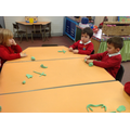 Making 3D treasure with playdough.