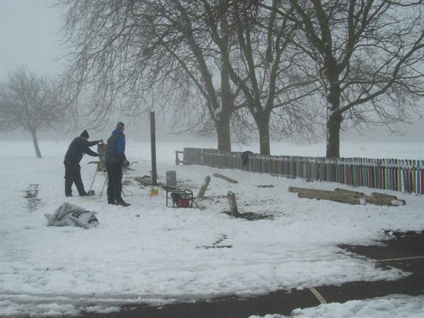 The new trim trail going up in the snow
