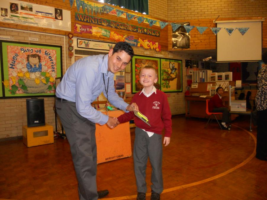 The winner of the whole school writing competition