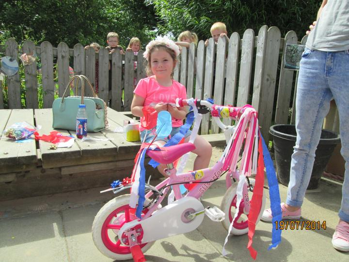 Afternoon class 'bling' their bikes.