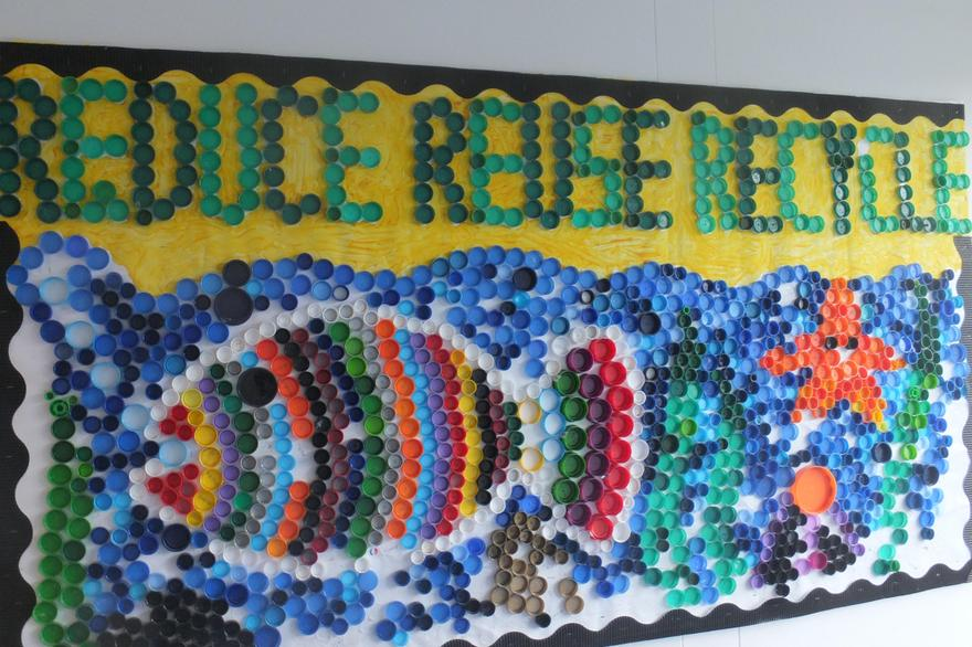 Parent led display using recycled bottletops