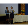 Mia on cornet and Rachel on trumpet