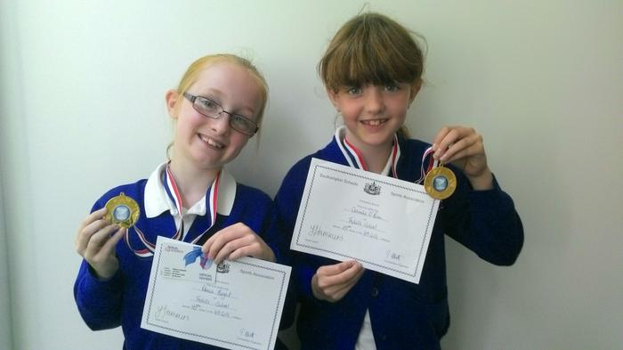 Rebecca and Caoimhe  - Tampolining winners U9!
