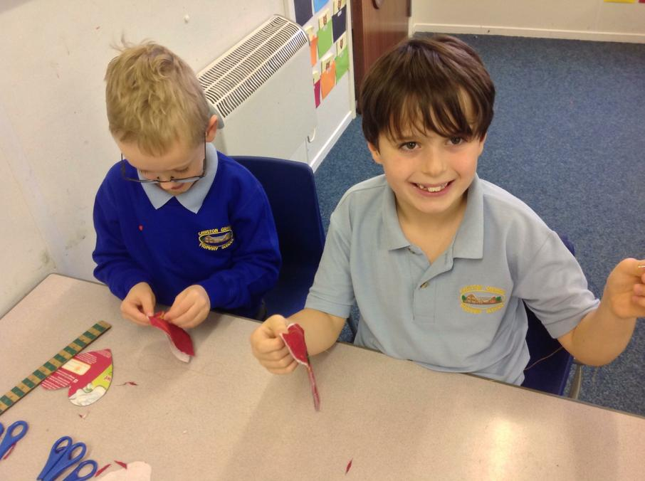 We are hand sewing Christmas decorations.