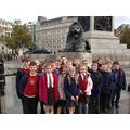 Meeting the lions at Trafalgar Square