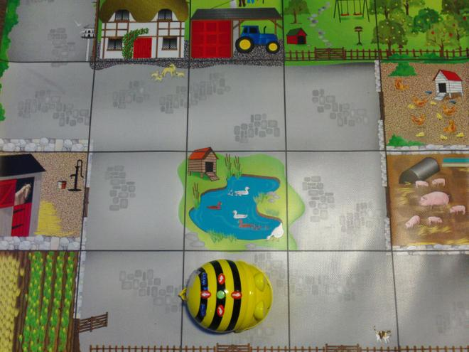 BeeBot on the story mat.