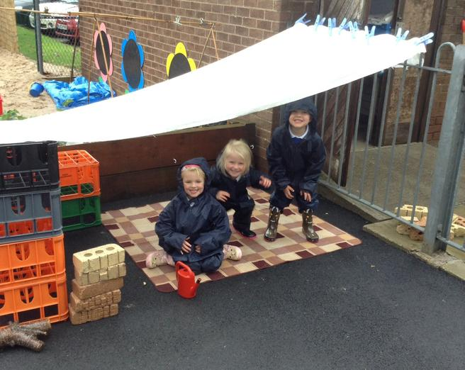 We made a den to shelter from the rain.