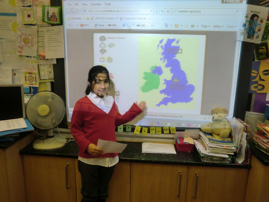 We used ICT to create a weather report.