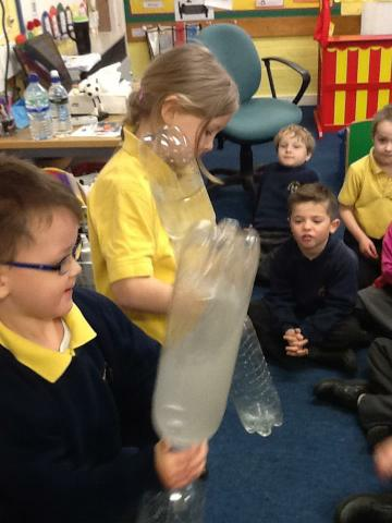 Twirling the bottles in a circular motion!