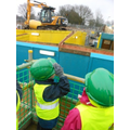 Surveying the site from the viewing platform