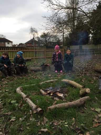 Our very first Forest School camp fire.