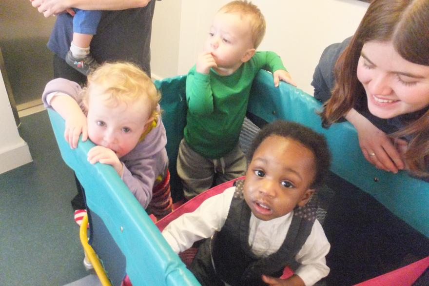 Babies from Day Care on a journey around school
