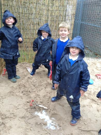 Building in the sand is great when it's so wet!
