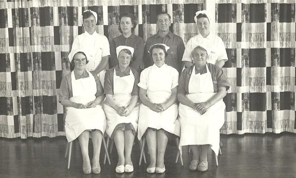 Kitchen staff, secretary and caretaker 1964