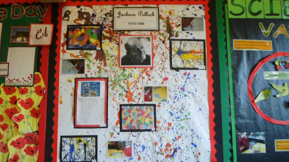 Art display board showing some of our work.
