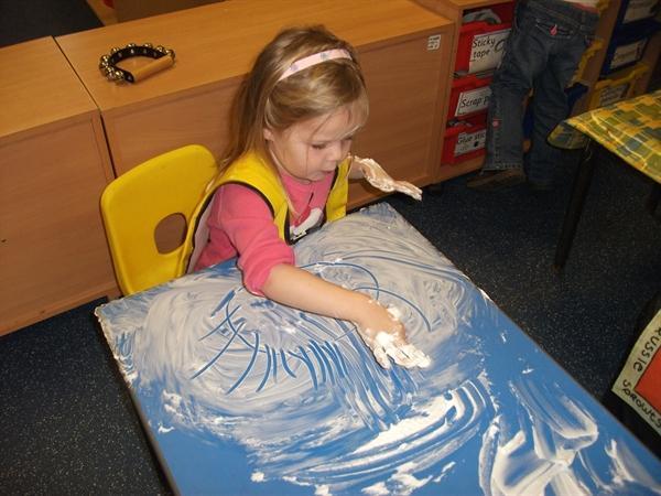 Mark making with shaving foam