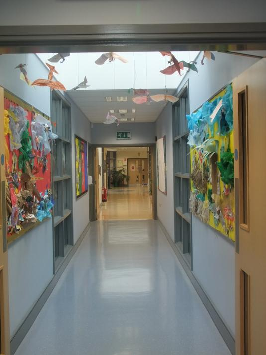 Wide, bright corridors and displays