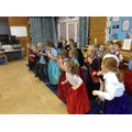 Pretending to be mice, wiggling our tails!