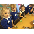 Making dinosaur nests!