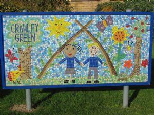 Children's mosaic school sign