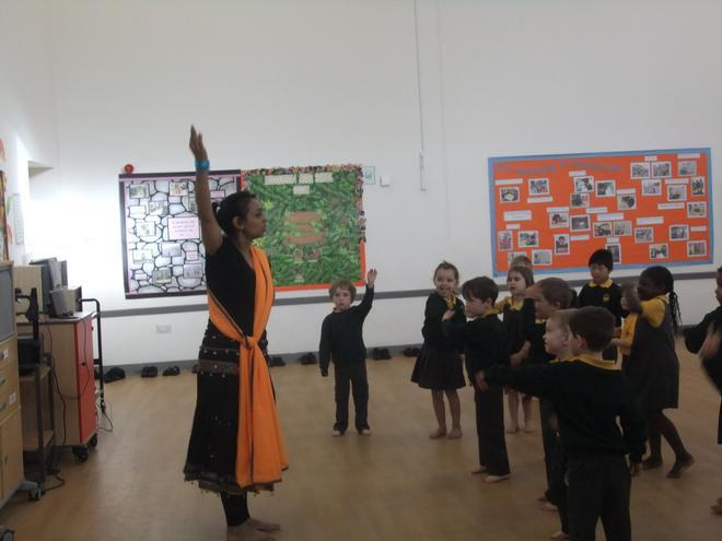 Indian dancing with Mrs Memon