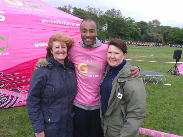 Mrs Gray and Mrs Martin with Colin Jackson