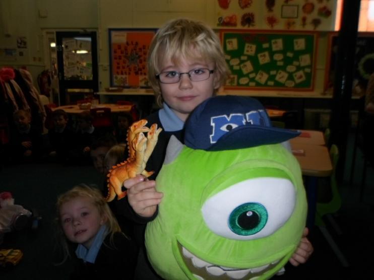 Mike Wazowski & a 3 headed dinosaur came to school