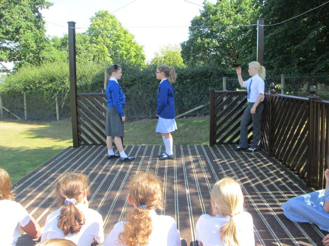 We love using the outdoor stage for drama!