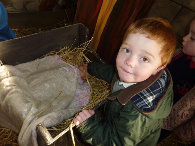 We saw the Nativity scene at the farm.