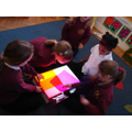 Colour mixing with the light box.