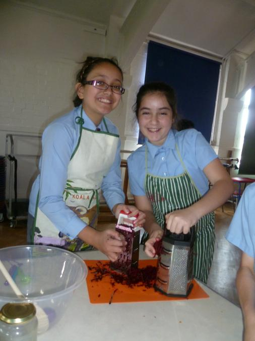 Grating lots and lots of beetroot!