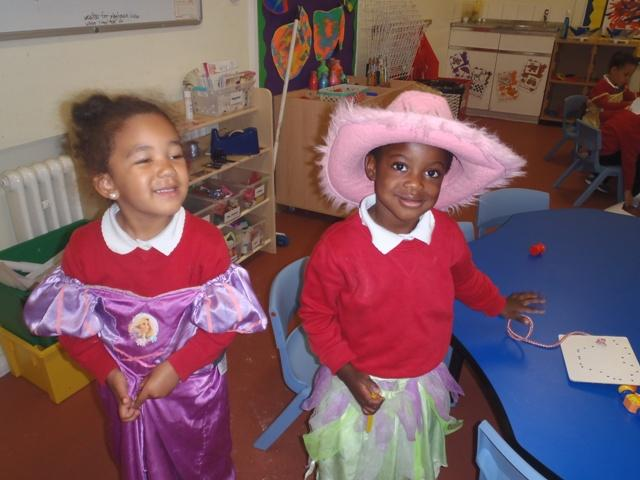 Onose and Gabrielle love to dress up at Nursery.