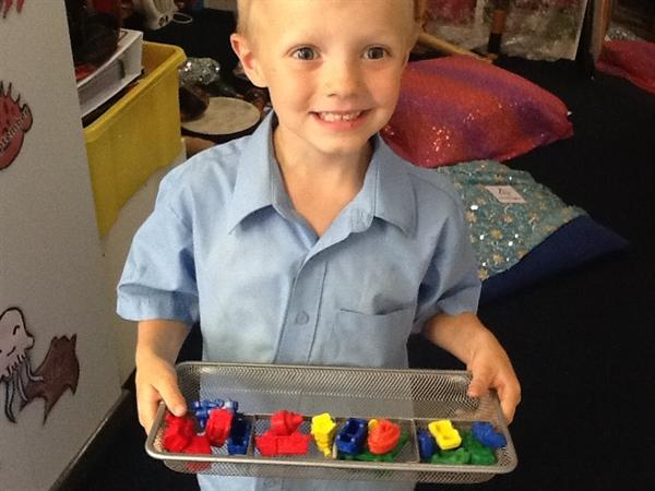 Counting in five's with the Transport toys!