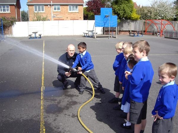 Testing the hose with the Firemen