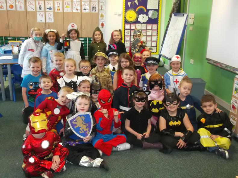 We all dressed up as heroes for our heroes wow day
