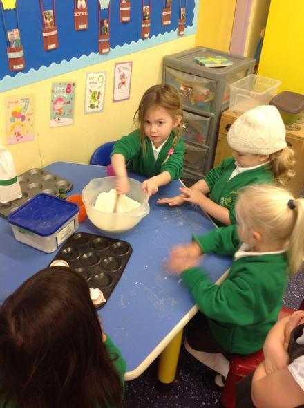 Mixing materials-flour, water & salt.