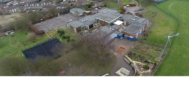 Aerial view showing KS2 playground