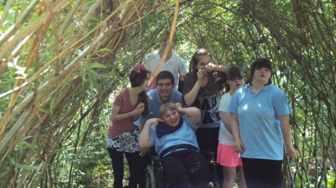 Students enjoying the sensory gardens at Albrighton Moat