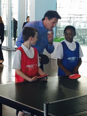 Our pupils having a chat with Lord Seb Coe