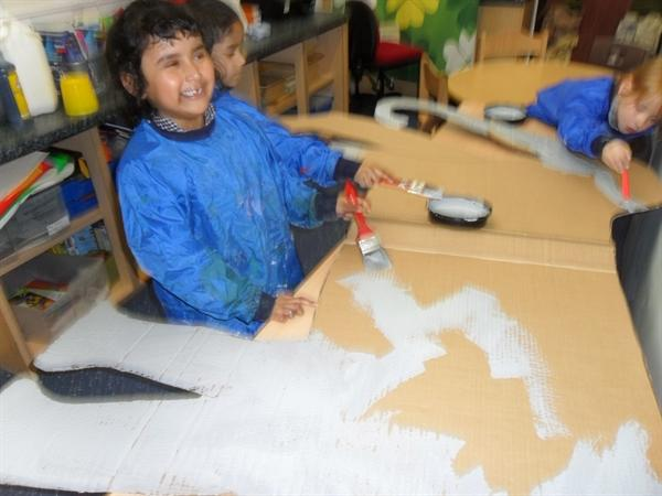 Painting an elephant for our Indian role play area