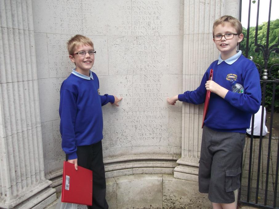 Finding our soldiers' names on the War Memorial.