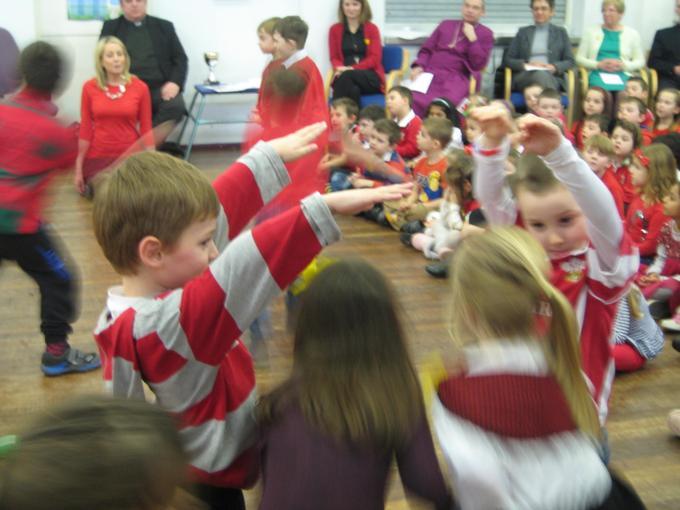Reception perform their folk dance.